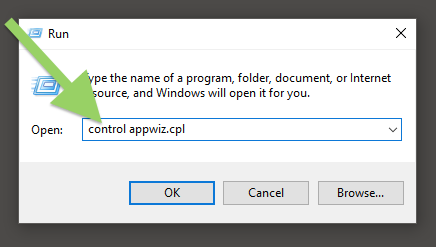 Type in control appwiz.cpl in the Run dialog