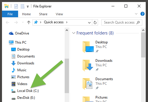 C: is located in the left pane in Windows File Explorer